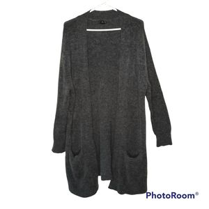Club Monaco Wool Mohair Blend Open Front Cardigan Gray Size S Front Pockets
